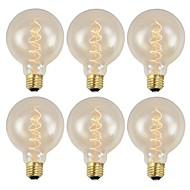 billige Glødelampe-6pcs 40W E26/E27 G95 Varm hvit 2200 K Kontor / Bedrift Mulighet for demping Dekorativ AC 220-240 V