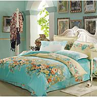 baratos Edredons Florais-Azul Claro Floral Poliéster Impressão Reactiva Poliéster 1pç  Capa de Edredon