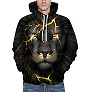 cheap Men's hoodies-Men's Plus Size Active Long Sleeve Loose Hoodie & Sweatshirt - 3D / Animal Lion, Print Hooded Black XL / Fall / Winter