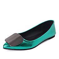 baratos Sapatos Femininos-Mulheres Flanelado Primavera / Verão Sapatos clube Sandálias Sem Salto Dedo Apontado Combinação Vermelho / Verde / Champanhe / Social
