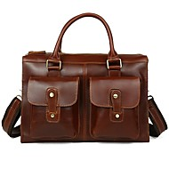 Men Bags Cowhide Briefcase Zipper for Formal Office & Career All Season Brown