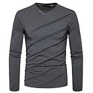 Homens Camiseta Temática Asiática Sólido Algodão Decote V