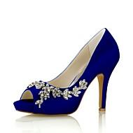 baratos Sapatos Femininos-Mulheres Sapatos Tecido elástico Primavera / Verão Plataforma Básica Sapatos De Casamento Salto Agulha Peep Toe Cristais Azul Real / Champanhe / Ivory / Festas & Noite