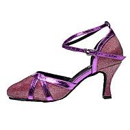 billige Moderne sko-Dame Moderne Glimtende Glitter Sandaler Innendørs Kustomisert hæl Gull Svart Sølv Grå Lilla / Kan spesialtilpasses