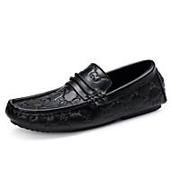 tanie Small Size Shoes-Męskie Buty Skóra Wiosna Lato Mokasyny Mokasyny i pantofle na Casual Biuro i kariera Black
