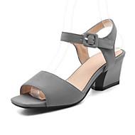 tanie Small Size Shoes-Damskie Nubuk Wiosna / Lato Wygoda / Zabawne Sandały Masywny obcas Buty z wystającym palcem Cekin / Klamra Szary / Czerwony / Zielony