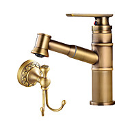 halpa -Art Deco / Retro Integroitu Laajallle ulottuva Keraaminen venttiili Yksi kahva yksi reikä Antiikkikupari , Kylpyhuone Sink hana