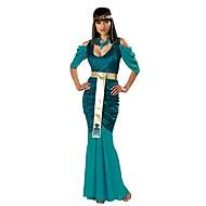 Cleopatra Det gamle Egypten Kostume Dame Kjoler Festkostume Maskerade Grøn Vintage Cosplay Bomuld Kortærmet Kolde skulder Ankellængde