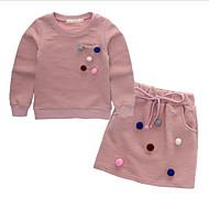Djevojčice Pamuk Na točkice Proljeće Jesen Dugih rukava Komplet odjeće Ulični šik Blushing Pink Navy Plava
