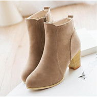Women's Shoes PU(Polyurethane) Spring / Winter Comfort Boots Chunky Heel Round Toe / Closed Toe Booties / Ankle Boots Black / Beige / Red