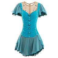 Vestidos para Patinação Artística Mulheres Para Meninas Patinação no Gelo Vestidos Azul Elastano Pedrarias Pérolas Lantejoulas Apliques