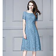 Mulheres Tamanhos Grandes Para Noite Bainha Vestido Sólido Altura dos Joelhos Azul