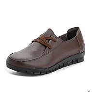 Feminino Sapatos Couro Ecológico Primavera Outono Conforto Oxfords Raso Ponta Redonda para Casual Preto Marron Vermelho