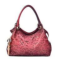 baratos -Mulheres Bolsas Couro Ecológico Bolsa de Ombro Bolsos para Casual Todas as Estações Azul Vermelho Rosa Cinzento