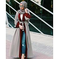 여성용 작동 스트리트 쉬크 플레어 슬리브 루즈핏 드레스 - 컬러 블럭 하이 웨스트 맥시 V 넥