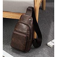 お買い得  ショルダーバッグ-男性 バッグ PU ショルダーバッグ ジッパー のために イベント/パーティー カジュアル 冬 秋 ブラック コーヒー Brown