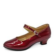 billige Moderne sko-Dame Moderne sko Kunstlær Høye hæler Lav hæl Kan spesialtilpasses Dansesko Svart / Sølv / Mørkerød