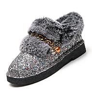 Feminino Sapatos Flocagem Couro Ecológico Inverno Outono Conforto Mocassins e Slip-Ons Nulo Sem Salto Ponta Redonda Nulo / para Casual