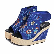 cheap Women's Sandals-Women's Shoes Real Leather Spring Fall Comfort Sandals Wedge Heel for Casual Blue Black