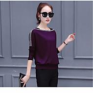 สำหรับผู้หญิง เสื้อเชิร์ต สีพื้น สีน้ำเงินกรมท่า XL / ฤดูใบไม้ผลิ / ฤดูร้อน