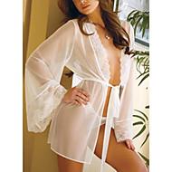 Mulheres Super Sensual Conjunto Roupa de Noite,Decote V Sólido,Fina Elastano Branco