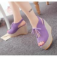 baratos Sapatos Femininos-Mulheres Sapatos Pele Nobuck Primavera / Verão Conforto Sandálias Salto Plataforma Preto / Bege / Roxo / Calcanhares