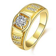 Homens Anéis Grossos Zircônia Cubica Clássico Rosa ouro Chapeado Dourado Forma Geométrica Jóias Diário Festa de Noite