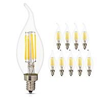 billige -10pcs 4W 360lm E14 LED-glødepærer C35L 4 LED COB LED Lys Dekorativ Edison pære Varm hvit Kjølig hvit 2700-6500K AC 220-240V
