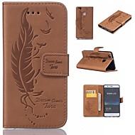 billiga Mobil cases & Skärmskydd-fodral Till Huawei P9 Lite P9 Korthållare Plånbok med stativ Lucka Läderplastik Fjädrar Hårt för Huawei