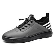 お買い得  メンズスニーカー-男性用 靴 本革 合成マイクロファイバーPU レザー PUレザー 春 コンフォートシューズ スニーカー サイクリング ウォーキング のために カジュアル ブラック グレー