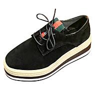 お買い得  レディースオックスフォードシューズ-靴 ヌバックレザー PUレザー 春 秋 コンフォートシューズ オックスフォードシューズ ローヒール ラウンドトウ のために カジュアル ブラック パープル グリーン