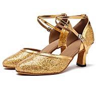 billige Kustomiserte dansesko-Moderne sko Paljett Sandaler / Høye hæler Sløyfer Kustomisert hæl Kan spesialtilpasses Dansesko Gull