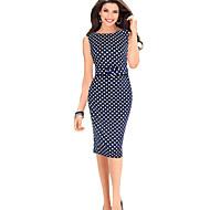 Women's Daily Vintage Basic Bodycon Dress - Polka Dot High Waist Summer Red Navy Blue Purple XXXL XXXXL XXXXXL