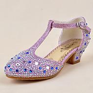 baratos Sapatos de Menina-Para Meninas Sapatos Paetês Primavera / Verão Salto minúsculos para Adolescentes Saltos Cristais para Dourado / Prata / Roxo