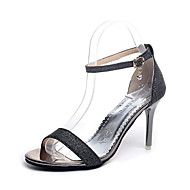preiswerte -Damen Schuhe PU Sommer Komfort Slippers & Flip-Flops Block Ferse Offene Spitze Paillette für Normal Kleid Gold Schwarz Silber