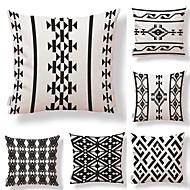 tanie Zestawy poduszki-6 szt Tekstylny Cotton / Linen Pokrywa Pillow, Prążki Geometryczny Kropki i kratki