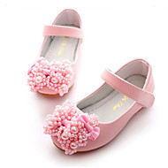 cheap Girls' Shoes-Girls' Shoes PU Spring Fall Flower Girl Shoes Novelty Flats Bowknot Rivet Magic Tape for Party & Evening Dress White Pink