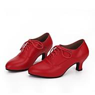 Dame Moderne Læder Hæle Cubanske hæle Sort Rød Kan tilpasses