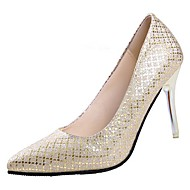 cheap -Women's PU(Polyurethane) Spring Comfort Heels Stiletto Heel Pointed Toe Gold / Black / Silver / Wedding