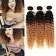 お買い得  グラデーションカラー・ヘアエクステンション-ブラジリアンヘア その他の特徴カーリー 人間の髪織り 3本 ホット販売 0.3