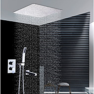 cheap Shower Faucets-Contemporary Wall Installation Rain Shower Handshower Included Ceramic Valve Two Handles Four Holes Chrome, Shower Faucet
