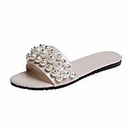 cheap Women's Slippers & Flip-Flops-Women's Shoes PU Spring Comfort Slippers & Flip-Flops Flat Heel Open Toe Pearl for Casual White Black Beige