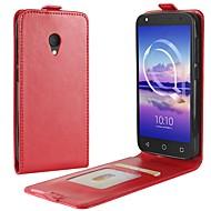 billiga Mobil cases & Skärmskydd-fodral Till Alcatel alcatel U5 4G A7 Korthållare Lucka Fodral Ensfärgat Hårt PU läder för alcatel U5 HD Alcatel U5 4G alcatel U5 3G