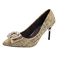 cheap Women's Heels-Women's Shoes PU Spring Comfort Heels Walking Shoes Stiletto Heel Pointed Toe Satin Flower for Casual Light Green Gray