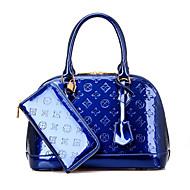 お買い得  バッグ-女性用 バッグ PU バッグセット 2個の財布セット ジッパー ブラック / パープル / ワイン
