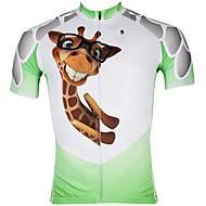 ILPALADINO Herre Kortærmet Cykeltrøje - Hvid / Grøn Tegneserie Dyr Cykel Trøje, Hurtigtørrende, Ultraviolet Resistent, Åndbart,