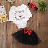Baby Pige Simple Fødselsdag / Daglig / Weekend Ensfarvet / Trykt mønster Langærmet Normal Normal Bomuld / Akryl Tøjsæt Sort 100