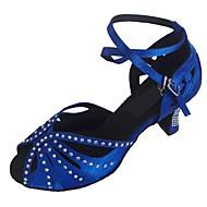baratos Sapatilhas de Dança-Mulheres Sapatos de Dança Latina Cetim Sandália Salto Personalizado Personalizável Sapatos de Dança Preto / Roxo / Azul marinho