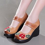 レディース 靴 レザー 春 秋 コンフォートシューズ ヒール ウエッジヒール のために カジュアル ブラック イエロー レッド