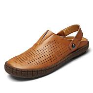 お買い得  メンズサンダル-メンズ 靴 レザーレット 春 夏 コンフォートシューズ サンダル のために カジュアル ブラック イエロー